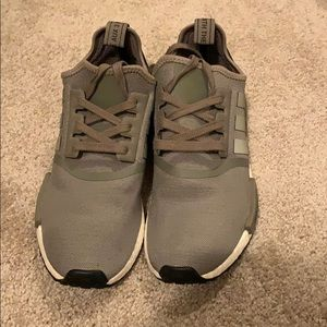 adidas nmd r1 olive with black patch on the heel